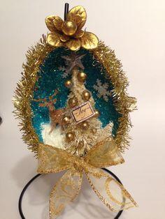 Vintage Christmas Diorama Ornament~Christmas Egg~Vintage Inspired Ornament~Plastic Deer~Shabby~ German Glass Glitter~Bottlebrush tree~ by ThePokeyPoodle on Etsy