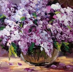 """Lilac Still Life Purple Flower Oil Painting on Small Canvas Palette Knife Impasto Textured 8x8"""" Original Art Ready To Hang"""