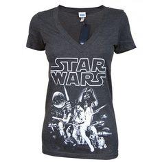 Ladies Vintage Star Wars T Shirt, Charcoal - T-shirts from Jukupop UK