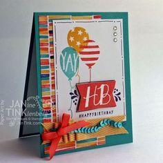 by Jan: Balloon Bash, Birthday Bash dsp, Best Year Ever ribbon (SAB), & more. All supplies from Stampin' Up!