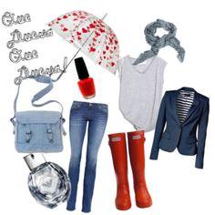 outfit para un dia como hoy, con lluvia :) A combinar cosas basicas como los jeans y pashmina gris con blazer y un lindo paraguas!