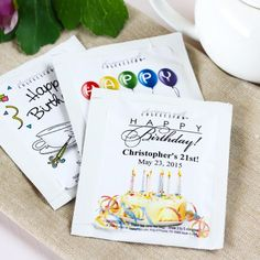 Having a Tea Party Check out these Personalized Birthday Party Tea Bags by Beau-coup