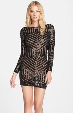 Free shipping and returns on Dress the Population 'Lola' Sequin Body-Con Dress at Nordstrom.com. Dazzling golden sequins create mesmerizing geo patterns on a body-hugging dress cut with full-length sleeves and a sultry back V-neckline.