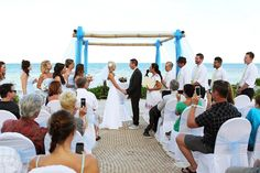 Wedding Blue Bay at Grand Esmerald by Del Sol Photography with Jamie and Jason on one of the most beautiful destination weddings in the Riviera Maya Mexico. Blue Beach Wedding, Dream Wedding, Riviera Maya Mexico, Destination Wedding, Most Beautiful, Wedding Photography, Weddings, Image, Beach Weddings