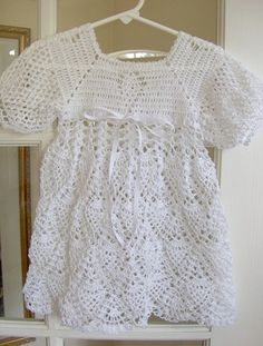 Crocheted Pineapple Motif Baby, Infant, Toddler Dress in White | VelleMere - Clothing on ArtFire