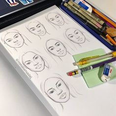Faces practice ✏️ I'm trying to get out of my comfort zone by doing more in depth studies and for the time being I really enjoy it! ☺️