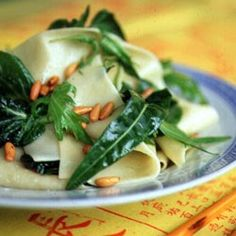 Saveur Pappardelle Over Wilted Asian Greens
