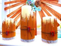 Sweetpea and Ivy decor, pencil candles.
