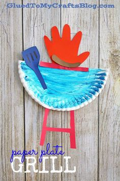 Paper Plate Grill - Summer Themed Kid Craft Idea - Daddy's Grilling Partner - Handprint Paper Plate Grill