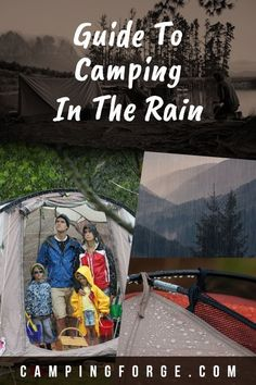 You can't control Mother Nature. Use these tips to keep yourself dry when it's raining on your camping trip. Kids Camping Gear, Snow Camping, Camping In The Rain, Retro Camping, Diy Camping, Camping Hacks, Camping Essentials, Camping Guide, Camping Survival