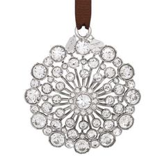 Kate Spade Huge Crystal Holiday Ornament Bring the sophisticated elegance of Kate Spade New York to your Christmas tree with this bejeweled ornament. This silver plate Christmas ornament will add beautiful shimmer and shine to your tree or other holiday display. It features a brown grosgrain ribbon for hanging and a kate spade new york spade tag. This ornament measures approximately 3 inches in diameter and is gift boxed.  Purchased at Nordstrom. Kate Spade Other