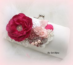 Clutch, Bridal, Handbag, Bag, Purse, Mother of the Bride in White, Fuchsia and Pink with Feathers, Brooch, Pearls and Handmade Flowers