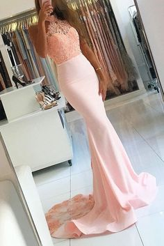 Charming Prom Dress,Beaded Prom Dress,Long Prom Dress,Mermaid Prom Dress,Lace Evening Dress,Formal Gown 489 - Thumbnail 1