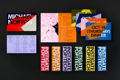 Graphic identity, posters, digital imagery, video, signage and bags by Collins for PopTech Conference Opinion by Richard Baird. Identity Design, Brochure Design, Visual Identity, Brand Identity, Map Design, Logo Design, Graphic Design, Ticket Design, Design Posters