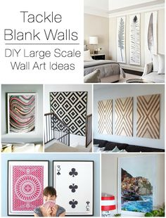 DIY Large Scale Wall Art Ideas- Unique wrapping paper framed, posters of poker playing cards, framing a shower curtain!