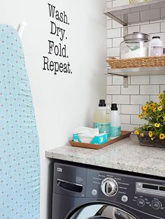 Blank walls are a great canvas for you in your laundry room! More storage solutions here: http://www.bhg.com/rooms/laundry-room/storage/laundry-room-storage-solutions/?socsrc=bhgpin062114transformblankwallspage=5