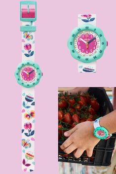 Only available to buy online, the Swiss-made BUCOLIA (ZFPSP038) is one of our favourite water resistant watches for kids due to its gorgeous design and fun rotating bezel. It would make a truly special gift, with pink and blue details and elegant printed flowers catching the eye. Practical as well as pretty, this white watch for kids has a case made from BPA-free plastic that is both shock and water resistant. Special Gifts, Purple, Pink, Swatch, Plastic, Eye, Elegant, Printed, Pretty