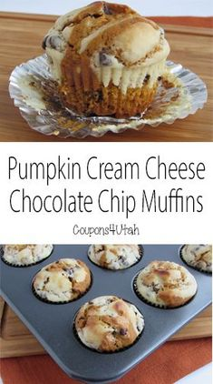 Pumpkin Cream Cheese Chocolate Chip Muffins. These are so moist and delicious. The perfect fall breakfast or snack.