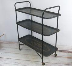 Vintage Black Serving Cart MCM Trimble Tray Table 3 Tiered Decorative Cart