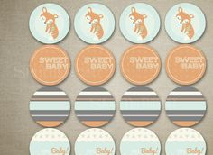 Fox Baby Shower Cupcake Toppers Orange Mint Grey - Decor - Fox Shower Food Table - Fox Shower Printable - http://babyshower-cupcake.com/fox-baby-shower-cupcake-toppers-orange-mint-grey-decor-fox-shower-food-table-fox-shower-printable/