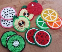 Fruit coasters perler beads by Lilie Swee week for creative ways to make extra money from home? What better way than to sell DIY projects you made?Guess the fruit Easy Perler Bead Patterns, Melty Bead Patterns, Perler Bead Templates, Beading Patterns, Hama Beads Coasters, Diy Perler Beads, Perler Bead Art, Pearl Beads Pattern, Art Perle