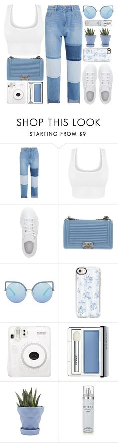 """""""Zurich"""" by monmondefou ❤ liked on Polyvore featuring Steve J & Yoni P, adidas, Chanel, Matthew Williamson, Casetify, Clinique, Chive, Kenneth Cole, white and Blue"""