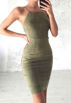 Olive silk body con sleeveless midi dress  A killer via Tumblr You're Wonderful ♡