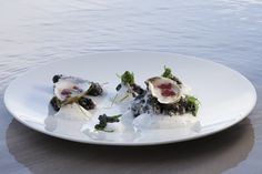 """Oysters with Mignonette Gelee Presented in their  """"Natural Setting,"""" Squid Ink """"Rocks,"""" Verjus Sea Froth, Wakame"""