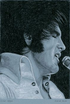Weekly Elvis drawing for week 41. Live 1970, 2013 Charcoal and Chalk on colored paper. ca. 15 x 21 cm. For Sale! www.elvis-art.com