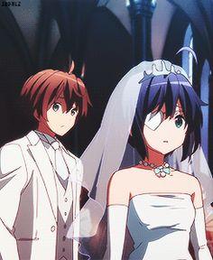 togashi yuuta and takanashi rikka at their wedding