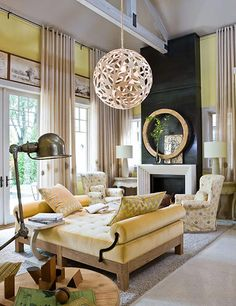 Great example of how a David Trubridge lamp can enhance a traditional home (gordon beall photo)