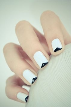 White with black nails #nails #manicure #mani #design