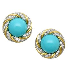 Pair of Turquoise and Diamond Earclips, by Verdura