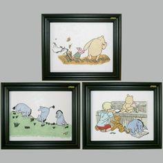 Classic Pooh Wall Decor Hand Drawn and Hand Inked - SET OF 3. $16.99, via Etsy.