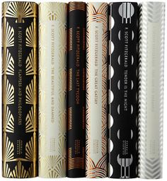 f. scott fitzgerald <3 just how gorgeous are these new book covers? why, too beautiful for words! love the deco-inspired metallic covers for these six titles. they totally translate the glamour of the roaring 20's era that he wrote in.