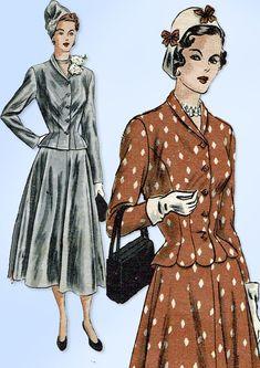 1940s Original Vintage Vogue Pattern 6314 Misses Peplum Suit Size 18 36 Bust