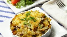 """""""No canned soup mix in this recipe! Mushrooms, onions, celery, and peas all go into this comfort casserole.""""  Ingredients     1/2 cup butter, divided   1 (8 ounce) package uncooked medium egg noodles   1/2 medium onion, finely chopped"""