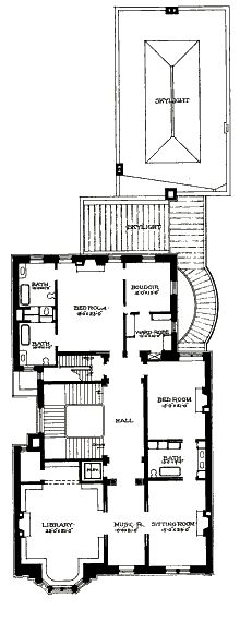 The floor plan of the house was centered, like many fifth avenue mansions, around entertaining. The ground floor contained the drawing room, entrance hall, reception room, dining room, conservatory, ballroom (which was also an art gallery) and the pantries. The second floor held the library, music room, sitting room, a bedroom and the master suite. The upper floors held bedrooms, bathrooms and servant's rooms.