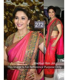 Shop online bollywood actress Madhuri Dixit hot pink and red designer bollywood saree. This Madhuri Dixit style designer bollywood saree is prettified with exclusive embroidered and lace. Bollywood Sarees Online, Bollywood Designer Sarees, Latest Designer Sarees, Latest Sarees, Bollywood Fashion, Bollywood Style, Bollywood Actress, Ethnic Wear Designer, Saree Dress