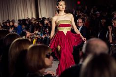 I'm not crazy about the burgundy trend, but the cuts on this Marchesa dress are fresh