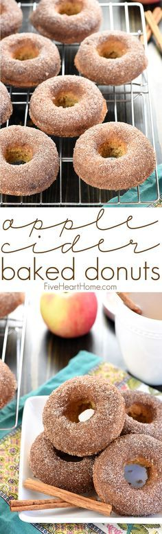 Apple Cider Baked Donuts ~ these delicately spiced, 100% whole wheat donuts are tender on the inside and coated in crunchy cinnamon sugar on the outside for a tasty fall breakfast treat! | FiveHeartHome.com