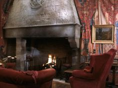 The fireplace in the Gryffindor Common Room