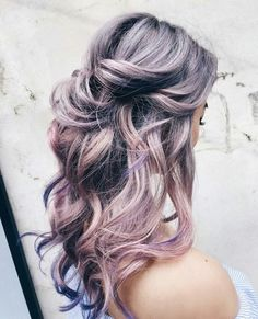 Curls Curl Soft Pastel Grey Pink Hair Colour Color Coloured Colored Fire Style