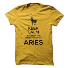 KEEP CALM, YOURE IN THE PRESENCE OF AN ARIES! - #vintage shirt #sleeve tee. MORE INFO => https://www.sunfrog.com/LifeStyle/KEEP-CALM-YOURE-IN-THE-PRESENCE-OF-AN-ARIES.html?68278