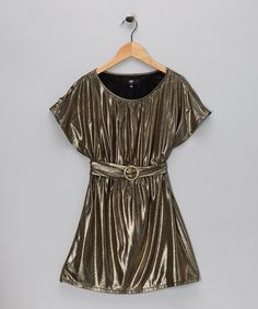 On Sale... this Gold (also in Silver)Shimmer Buckle Dress - Girls by A.B.S. by Allen Schwartz on #zulily today!
