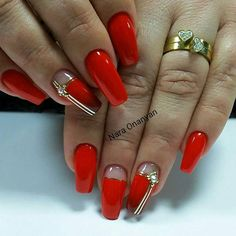 and Beautiful Nail Art Designs Red Acrylic Nails, Red Nail Art, Red Nails, Pastel Nails, Sassy Nails, Cute Nails, Pretty Nails, Square Nail Designs, Red Nail Designs