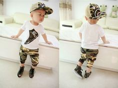 2015 new summer 0-4 year boys clothes 100% Cotton Korean Camouflage Style kids clothes sets T-shirt + camouflage pants 2pcs