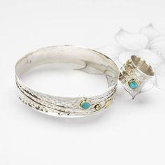 Handmade Turquoise Flower Silver Ring