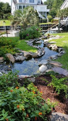My outdoor space… - Garten Design Backyard Stream, Backyard Water Feature, Ponds Backyard, Pond Landscaping, Landscaping With Rocks, Mailbox Landscaping, Country Landscaping, Natural Pond, Pond Waterfall