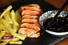 Nos encanta este salmón marinado con aroma de naranja, sésamo y soja de MUGGIES CAFÉ.